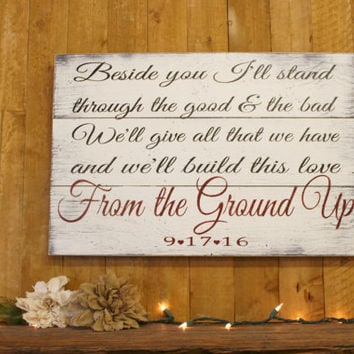 From The Ground Up Pallet Sign Wedding Sign Vintage Wedding Shabby Chic Wedding Personalized Wedding Decor Handmade Handpainted Sign