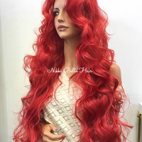 Red Human Hair Blend Lace Front Wig -  Ariel 8175 ON SALE