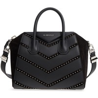 Givenchy Small Antigona Studded Chevron Suede & Leather Satchel | Nordstrom