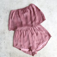 reverse - your type silky strapless romper - mauve