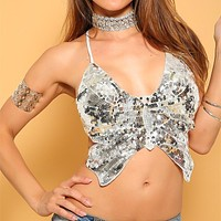 Butterfly Sequin Backless Cami Top