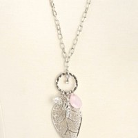 LONG LEAF & PEARL CHARM NECKLACE