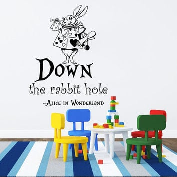 Wall Decals Quotes Down The Rabbit Hole Alice in Wonderland Wall Decal Quote Sayings Rabbit Wall Vinyl Decals Nursery Home Decor AN750