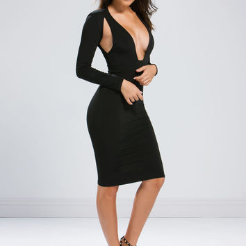 Sidelines Plunging Cut-Out Midi Dress GoJane.com