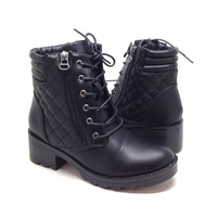 Women's Black Vegan Leather Boots with Quilt Design and Zipper Detail