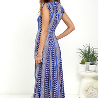 I'm Worth It Royal Blue Print Midi Dress