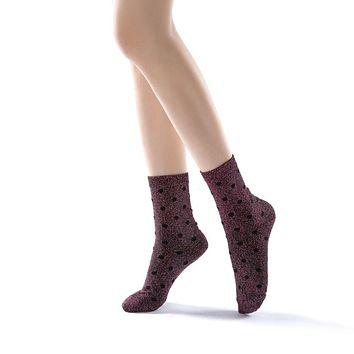 Polka Party Glitter Ankle Sock | Purple