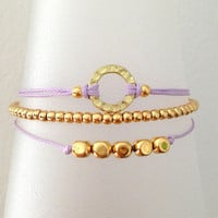 Triple Gold and Lavender Friendship Bracelet with Adjustable Cord