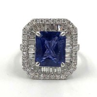 18k white gold Emerald cut Sapphire and Diamond Cocktail Ring  5.46cts