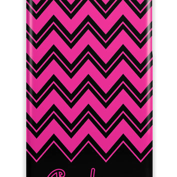 Girls monogrammed Iphone casae - Pink and black chevron