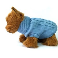 Baby Blue Knitted Dog Sweater