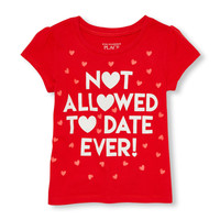 Toddler Girls Short Sleeve Glitter 'Not Allowed To Date Ever!' Heart Print Graphic Tee | The Children's Place
