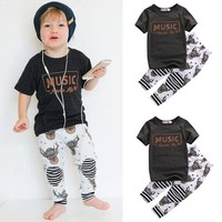 Short Sleeve Cotton MUSIC T-Shirt Tops Pant 2pcs Outfits