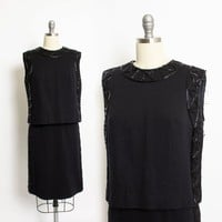 Vintage 1960s Dress - Black Wool Knit Beaded Shift Cocktail 60s - Small S