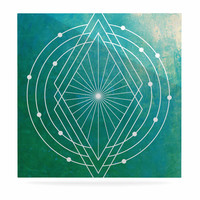 "Matt Eklund ""Atlantis"" Teal Geometric Luxe Square Panel"