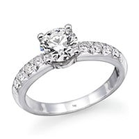 1.00 cttw 14k White Gold GIA Certified Diamond Engagement Ring ( I Color, VVS2 Clarity)