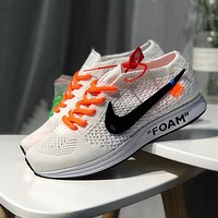 Off White x Nike Flyknit Racer Woman Men Fashion Sneakers Sport Shoes