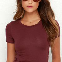 Basic Instinct Burgundy Crop Tee