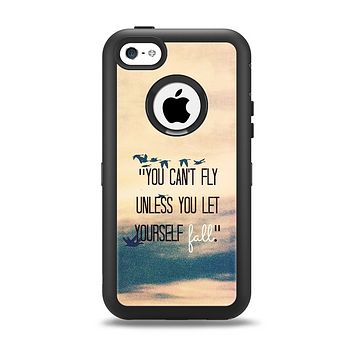 The Pastel Sunset You Cant Fly Unless You Let Yourself Fall Apple iPhone 5c Otterbox Defender Case Skin Set
