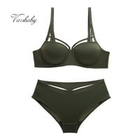 Varsbaby fashion sexy push up lingerie solid comfortable underwear hollow bra and panty sets