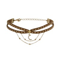 Bring it All to Me Choker in Brown and Denim
