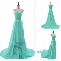 One-shoulder Sleeveless Floor-length Chiffon homecoming dress prom dress wedding dress Bridesmaid Dress With Beading