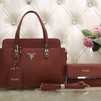 PRADA Women Fashion Leather Satchel Tote Handbag Shoulder Bag Crossbody Set Two-Piece-1