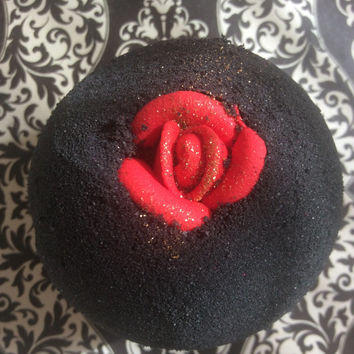 Bruised Ego black bath bomb tubby tornado™ rose jam scented