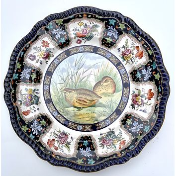 Copeland Spode Upland No. 29 Quail Game Bird Enameled Clobbered Antique Bi Color Transferware Plate