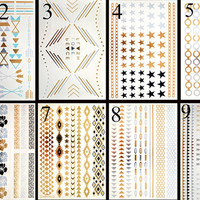 METALLIC TATOOS - Pack 25% Off - 5 sheets Tattoos, Temporary Gold Tattoos, Bracelets BOHO Tattoos, Geometric tattoos, Skin Jewelry