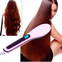2IN1 Hair Straightener Irons Comb LCD Display Electric Straightening Brush