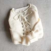 all tied up lace-up front sweater - natural