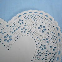 """Vintage Red and White Paper """"Heart""""  Doilies"""
