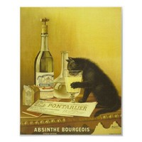 Absinthe Bourgeois and Cat Vintage Poster Art from Zazzle.com
