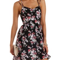 Black Combo Floral Print Strappy Skater Dress by Charlotte Russe