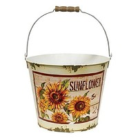 "Distressed Sunflower 8"" Painted Metal Bucket"