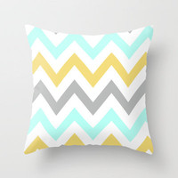BLUE/GRAY/YELLOW CHEVRON Throw Pillow by nataliesales | Society6
