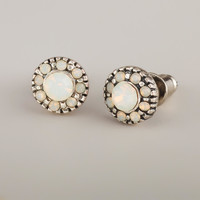 White Opal Crystal Stud Earrings - World Market