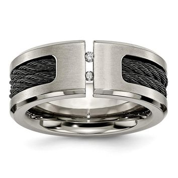 Men's Titanium Black IP-plated Cable and Diamonds Brushed Wedding Band Ring