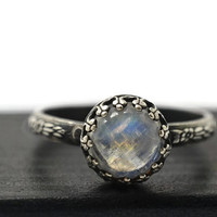 Round Rainbow Moonstone Ring, Oxidized Silver Ring, Black Floral Band, Natural Gemstone Jewelry
