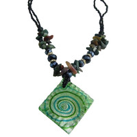 Murano Glass Green Pendant Ocean Jasper Nuggets Necklace Christmas Gift Affordable Gift Free shipping In USA
