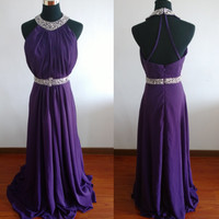 Purple Halter Backless Beadings Ruffles Sleeveless Chiffon Dress Long Bridesmaid Dress Prom Dress Evening Dress Party Dress Formal Dress