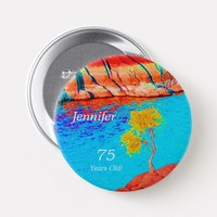 75 Years Old, Colorful Landscape Button Pin