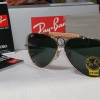 Cheap NEW RAY BAN AVIATOR RB3238 SHOOTER 001 (58-14) G-15 GOLD / GREEN CLASSIC outlet