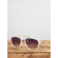 Gold Bar White Frame Sunglasses