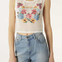 Floral Transfer Crop Top - Jersey Tops  - Clothing