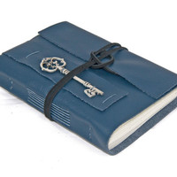 Navy Blue Leather Journal with Key Bookmark - Ready to Ship