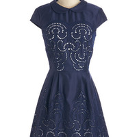 Chi Chi London Vintage Inspired Short Length Cap Sleeves A-line Swirls Unfurl Dress in Navy