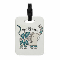 """Pom Graphic Design """"Be Brave"""" Teal Typography Decorative Luggage Tag"""