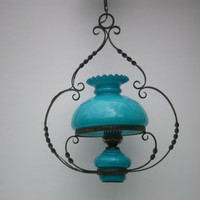 french former suspending lighting kitchen opaline blue Aqua //shabby chic//home deco//french lamp//french country home